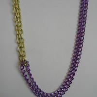 Lakers inspired, Purple and Gold, Double Colored Chain Asymmetrical Necklace