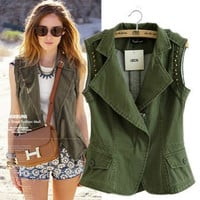 Vest Rivet Mosaic Sleeveless Jacket [4919013636]