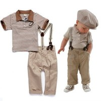 NiSHa - Baby Boy Summer Outfits 3-pc Clothes Set (Shirt Pants Suspender) Size: 9-12m, 2t, 3t, 4t, 5