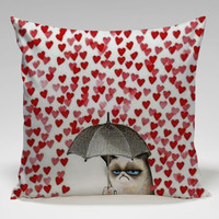 grumpy cats heart Love Square Pillow Case Custom Zippered Pillow Case one side and two side