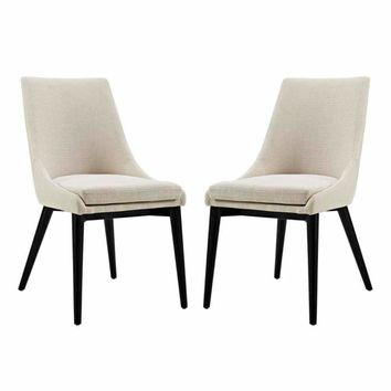 Viscount Set of 2 Fabric Dining Side Chair, Beige