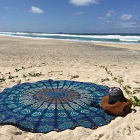 Boho Babe Essential Blue Rhapsody Roundie Indian Mandala Round Roundie Beach Throw Tapestry Hippy Boho Gypsy Cotton Tablecloth Beach Towel , Round Yoga Mat