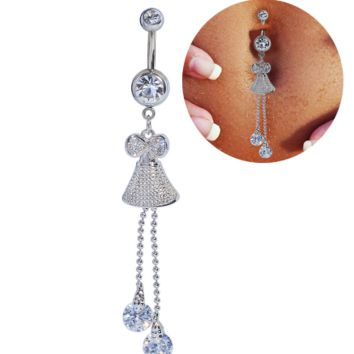 Simple design simple with bowknot zircon belly button ring antiallergic Navel Belly Ring-0429-Gifts box