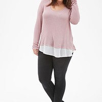 Chiffon-Paneled Top