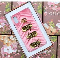 GUCCI leather metal insect  phone shell velvet personality iphone shell