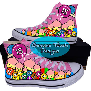 Hand Painted Converse Hi Sneakers.Candy cartoon style sneakers. Custom Handpainted shoes.