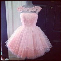 Adorable Pink Lace Ball Gown Round Neckline Mini Homecoming/Prom Dress