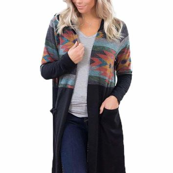 Black Aztec Open Long Cardigan