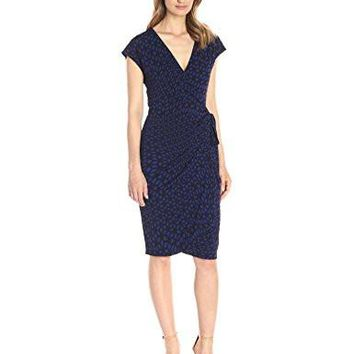 Women's Classic Dress Cap-Sleeve Wrap Dress
