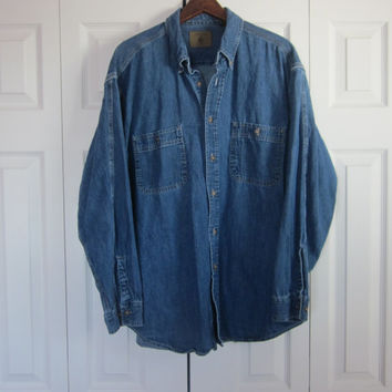 Vintage 80s 90s Grunge Denim Shirt Hipster Button Down Collar Blue Jean Shirt Jacket Mens Large Womens Oversized Denim Shirt