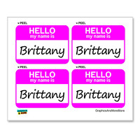 Brittany Hello My Name Is - Sheet of 4 Stickers