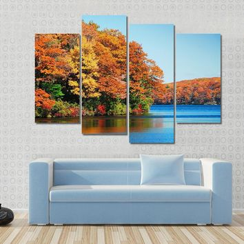 Autumn Colorful Foliage Over Lake Multi Panel Canvas Wall Art