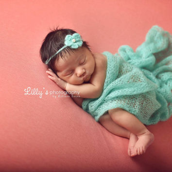 Mint Mohair Wrap and Headband Set, Tie Back Headband and Wrap, Baby Girl Prop, Newborn Photo Prop, Photography Prop