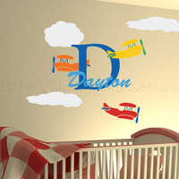 Biplane personalized wall decal, decal, wall sticker, wall graphic , vinyl decal, vinyl graphic decal