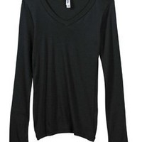 Bella Womens Andrea Sheer Rib Long Sleeve Longer-Length V Neck T Shirt. B8750