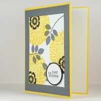Best Wishes Yellow, Black, Grey Floral Design Handmade Greeting Card