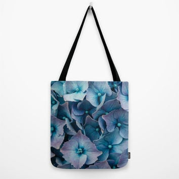 Art Print Tote Bag with Blue Hydrangeas Floral Photography, Canvas Bag.