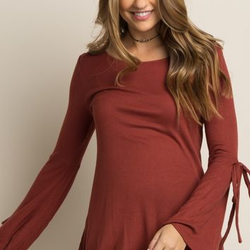 Rust Ribbed Bell Sleeve Tie Maternity Top
