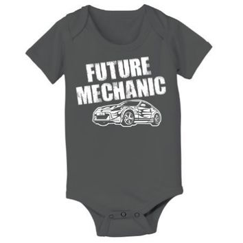 Future Mechanic Car - Baby One Piece - CHARCOAL - 6 Months