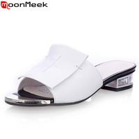 New summer high quality square heels genuine leather shoes women sandals ladies flat white and black open toe ladies slippers