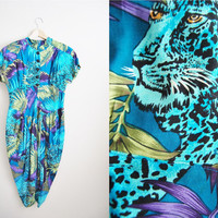 Neon Tiger - Vintage 80s Blue Animal Print Dress Bubble Skirt Street Style