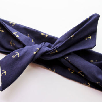 Navy & Metallic Gold Anchors Dolly Bow Tie Up Wire Headband, Hair Wrap. Teens, Adults, Children's Hair Wraps