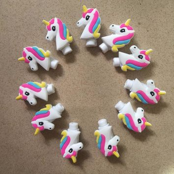 200pcs/lot Cartoon Unicorn Cable Protector Data Line Cord Protector Protective Case Cable Winder Cover For iPhone USB Charging