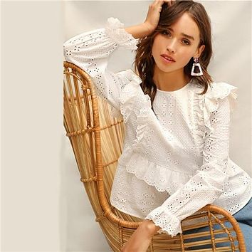 SHEIN White Ruffle Trim Embroidered Eyelet Top Flounce Sleeve Lace Blouse Women Spring Solid Scallop Front Boho Elegant Blouses