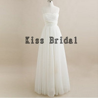 A-line Strapless Sleeveless Floor-length Chiffon Bridesmaid Dress With Free Shipping