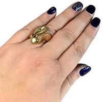 14k Gold Ribbon Ring Highly Polished Wave of Gold