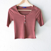 Striped Henley Crop Top - Burgundy