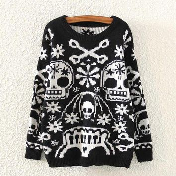 MDIGON1O Day First Womens Skull Pattern Knitted Sweater