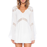 Mesh Embroidered V-neck Bell Sleeve Blouse
