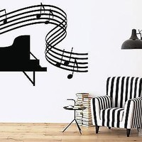 Wall Sticker Vinyl Decal Music Room Piano Full Fcore Sheet Unique Gift (n166)