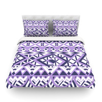 """Pom Graphic Design """"Tribal Simplicity II"""" Purple White Featherweight Duvet Cover"""