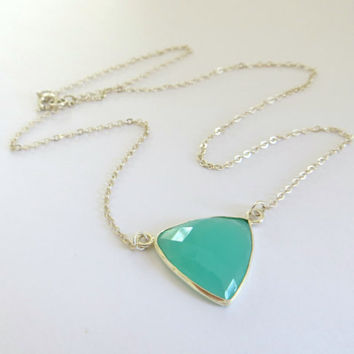 Mint Chalcedony Triangle Necklace. Sterling Silver Necklace. Aqua Green Gem Necklace. .925 Sterling Silver.