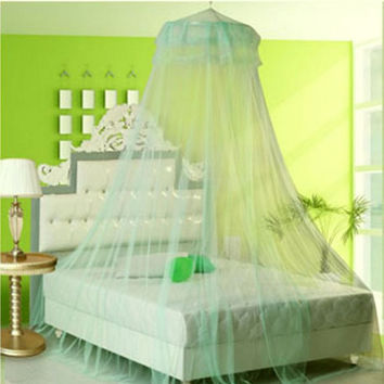 Elegant Lace Bed Mosquito Netting Mesh Canopy Princess Round Dome Bedding Net WJJ