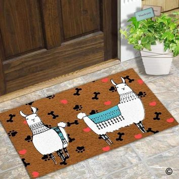 Autumn Fall welcome door mat doormat  Entrance Floor Mat Funny  Alpaca Love Footprint Non-slip  23.6 inch by 15.7 inch Non-woven Fabric AT_76_7