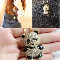 Cute Vintage Rhinestone Panda Love Sweater Chain Necklace Pendant