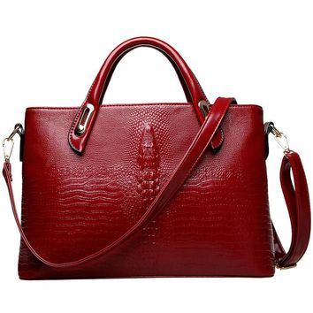 Realer Brand Genuine Leather Croc Embossed Sm. Satchel/Crossbody Bag
