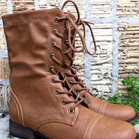 An Everyday Mid Calf Combat Boot in Tan