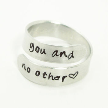 You and No Other ring - Adjustable aluminum silver tone ring - Relationship ring Promise ring - Hand-stamped handmade ring