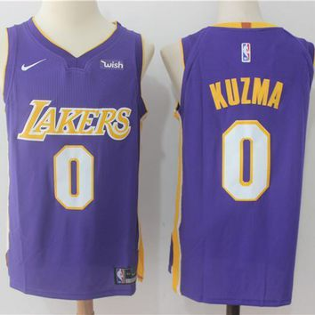NBA Authentic Basketball Player Jerseys Los Angeles Lakers # 0 Kyle Kuzma Purple