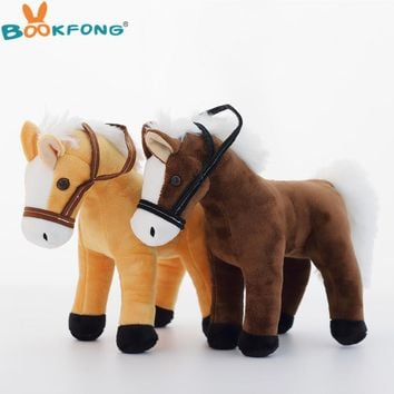 BOOKFONG 1PC 35CM Simulation Horse Plush Toy Stuffed Animal Horse Doll Prop Toys Great Gift for Children
