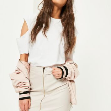 Missguided - Nude Coated Zip Front Skirt