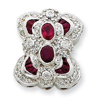 14k Gold White Gold Vintage Diamond & Ruby Bracelet Slide: Jewelry: Amazon.com