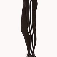 FOREVER 21 Metallic Varsity Striped Leggings Black/White