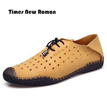 Fashion Handmade Genuine leather men Flats Soft leather men Male Moccasins High Quality Men Shoes