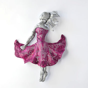 Ballet dancer - Metal art sculpture - wire mesh Sculpture - home decor - Contemporary art - wall hanging