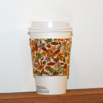 Fall Leaves Brown Fabric Coffee Cozy - Coffee cup sleeve - Eco friendly cozy - Stocking stuffer - Drink Sleeve - Hot pink lining, Reversible